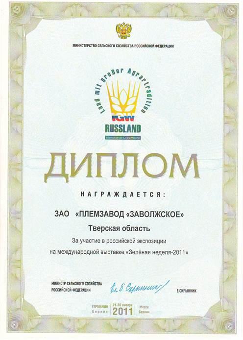Достижения и награды за год Диплом за участие в российской экспозиции на международной выставке Зеленая неделя 2011